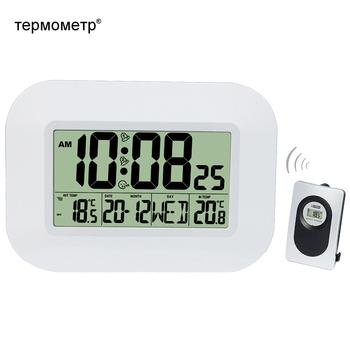 Duży LCD cyfrowa ściana zegar termometr temperatura sterowany radiowo budzik RCC tabela kalendarz biurkowy dla Home School Office tanie i dobre opinie TEPMOMETP Nowoczesne KN2152 Plac Z tworzywa sztucznego 2 6cm Pojedyncze twarzy 300mm 470g Cyfrowy Zegary ścienne 25mm grubości płyty