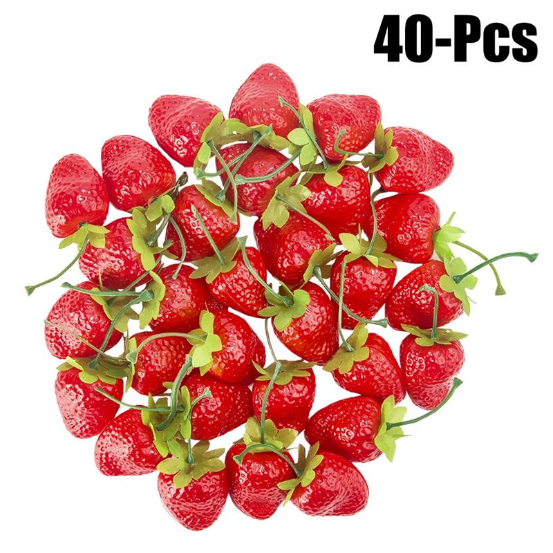 40pcs Artificial Glass Berries Fruit Red Cherry Plastic Fruits For Home Wedding Decoration Fake Strawberry Mulberry Flower Decor