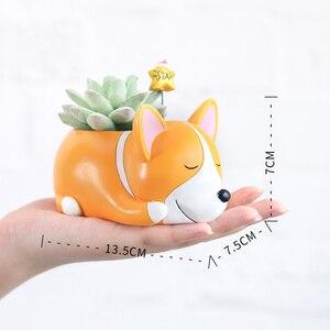 Image 5 - Roogo 8 kreatywny psy w stylu kreskówki wazon na kwiaty soczysty żywiczny śliczne ze śpiącym zwierzęciem do tyłu uczniowie doniczka prezent