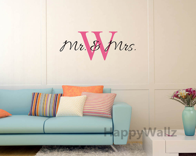 Mr Mrs Name Custom Wall Sticker DIY Family Name Wall Decal Vinyl Wall Quote  Decorating Family
