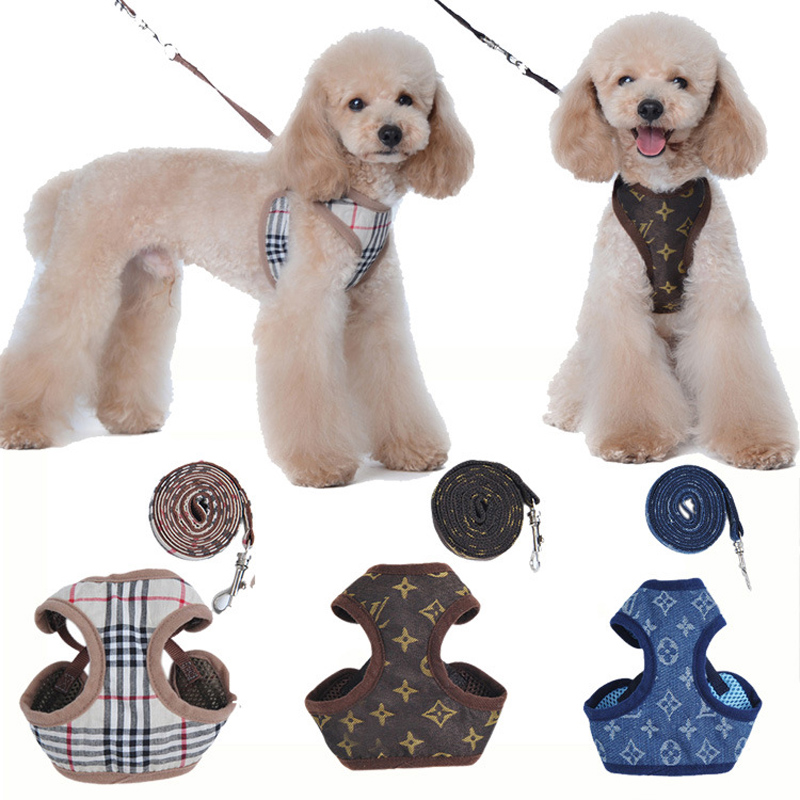 Pet Products Small Dog Harness Leash Set Pet Accessories Vest 130cm Dog Leashes for Easy Walking Patrol Soft Walk Out Harness s m l xl 7 colors pet cats dog leash large dog soft adjustable dog harness pet supplies walk out hand strap vest collar for dogs