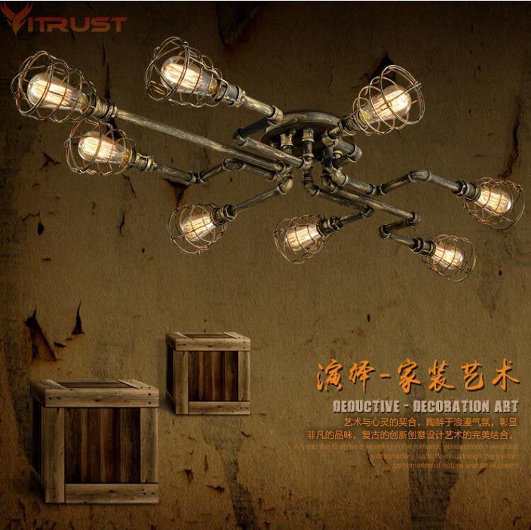 Vitrust Indutrial Lustres Lampe Luminaires Vintage Loft Lampes Bar Café Salon salle À Manger Pipe À Eau Edison Ampoule Titulaire