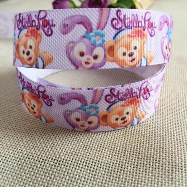 1 «25 мм Новый японский мультфильм анимации Даффи новый друг кролик мультфильм ребро ленты DIY аксессуары для волос, упаковка подарок ленты