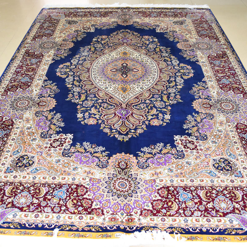 mingxin 6x9 f e blau farbe persische seidenteppiche handarbeit tabriz handgekn pfte teppich f r. Black Bedroom Furniture Sets. Home Design Ideas