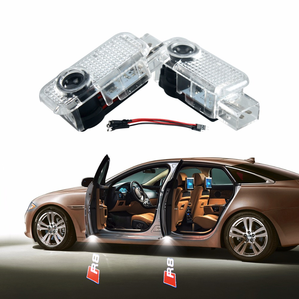 2pclot No Drilling Car-styling LED Ghost Shadow Projector Laser Courtesy Logo Light For AUDI R8 A4 A1 A3 A5 A6 A7 A8 Q5 Q7 Logo