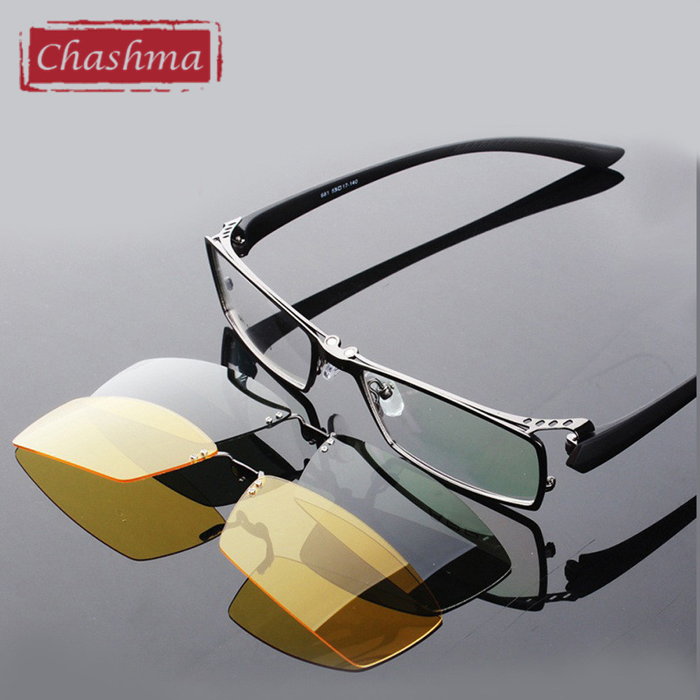 Chashma Day and Night Driving Polarized Clip Sunglasses Glasses Quality Optical Mopia Frame Eyeglasses Male