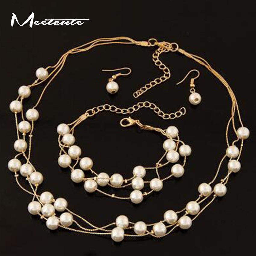 Meetcut Three Sets Fashion Sweet Multi-Layer Imitation Pearl Necklace Imitation Pearl Earrings Bracelet Women Fashion OL Jewelry
