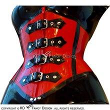 Сексуальные латексные Корсеты красного с черной отделкой со шнуровкой спереди и сзади и ремнями на молнии в фонрте, резиновые бюстье, Топ CY-0017