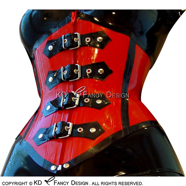 Red With Black Trims Sexy Latex Corsets With Lacing Front And Back And Zipper Belts At Fonrt Rubber Bustiers Top CY-0017