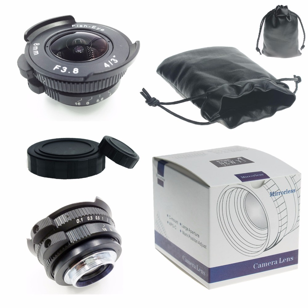 8 mm f / 3.8 8 from Mount F3.8 4/3 fish-eye lens for mirrorless Pentax Q camera + C-PQ Adapter + P / Q rear lens cap