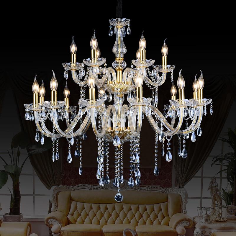 Европейский стиль хрустальная лампа Современная Гостиная простая свеча свет большой комплекс вилла проект лестница люстра 12 или 18 arm
