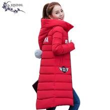 JQNZHNL Плюс размер Женщин Хлопка Пальто 2017 Зимняя Мода Утолщение С Капюшоном Пальто Средней Длины Женщины Clothing Хлопка Пальто AA439
