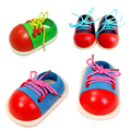 1Pairs Kids Montessori Educational Toys Toddler Lacing Shoes Children Wooden Toys Baby Early Education Toy
