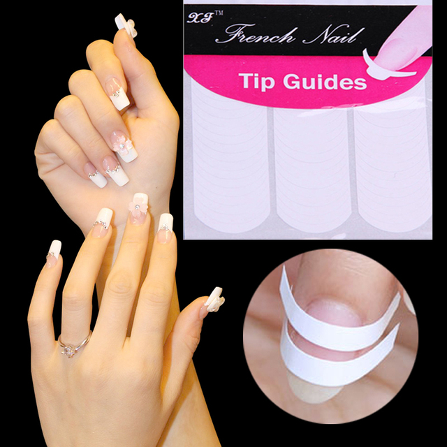 New Fashion DIY Nails Sticker Tips Guide French Manicure Nail Art ...