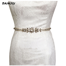 Crystal Wedding Belts Luxury Brand Satin Rhinestone Wedding Dress Belt Elegant Bridal Sashes Waistband for Evening Prom Gown