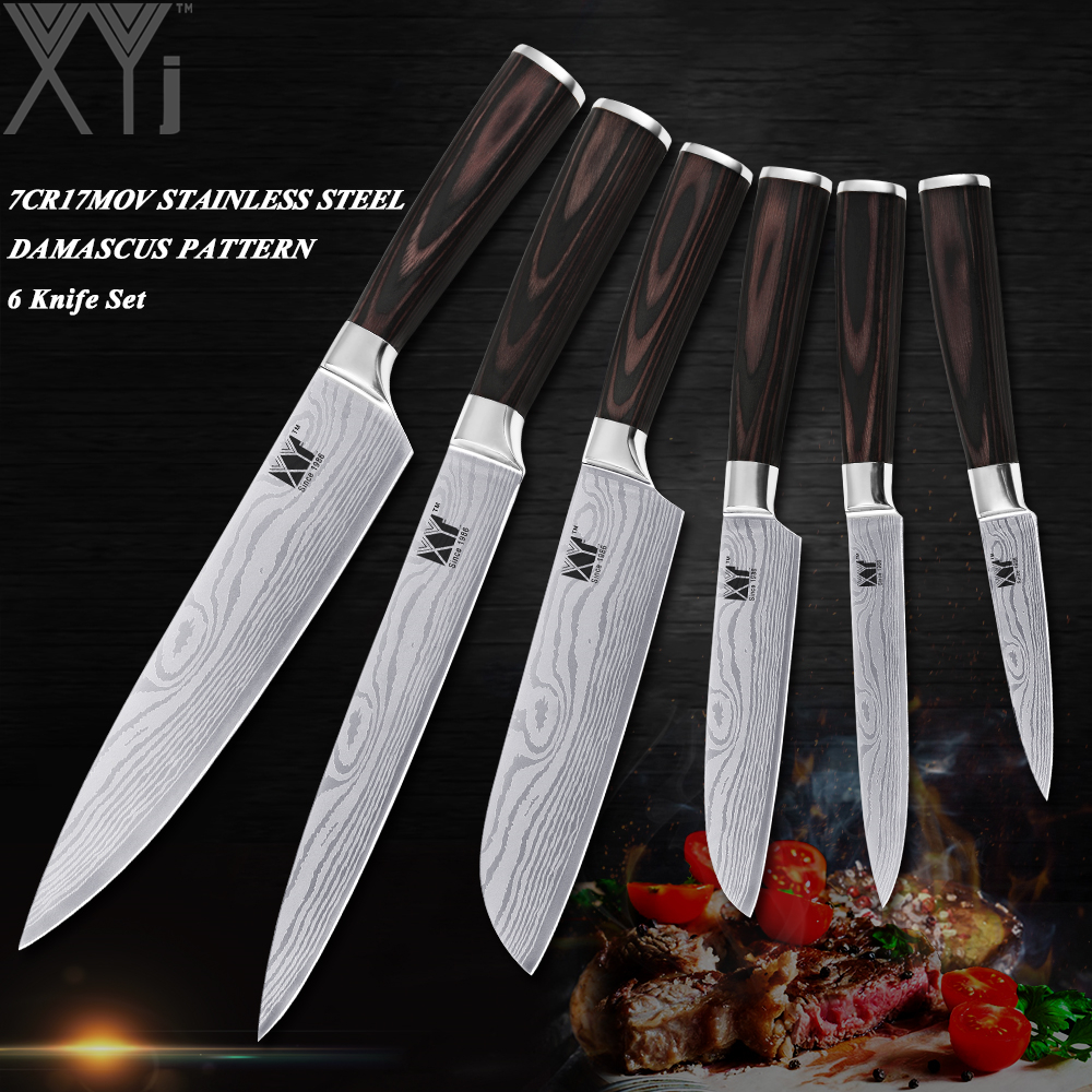 XYj ультра-тонкий нож кухонные ножи Набор 3,5 ~ 8 дюймов для очистки овощей утилита Santoku шеф-повар нарезки 6 шт. набор кухонный нож из нержавеющей ...