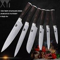 XYj Ultra - บางใบมีดมีดครัวชุด 3.5 ~ 8 นิ้ว Paring Utility Santoku Chef Slicing 6 ชิ้นชุดมีดสแตนเลส
