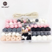 Slicone Teether Baby DIY Crafts Set Pacifier Clips Crib Toy Safe And Natural Silicone Bead Teether