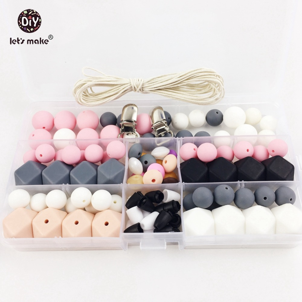 Let's Make Silicone Teether Baby DIY Crafts Set Pacifier Clips Crib Toy Safe And Natural Silicone Bead Teether Necklace Pendants