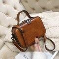 Кожаная сумка через плечо с узором для женщин  маленькая однотонная сумка на плечо  женские сумки и сумочки с ручкой  новинка 2019
