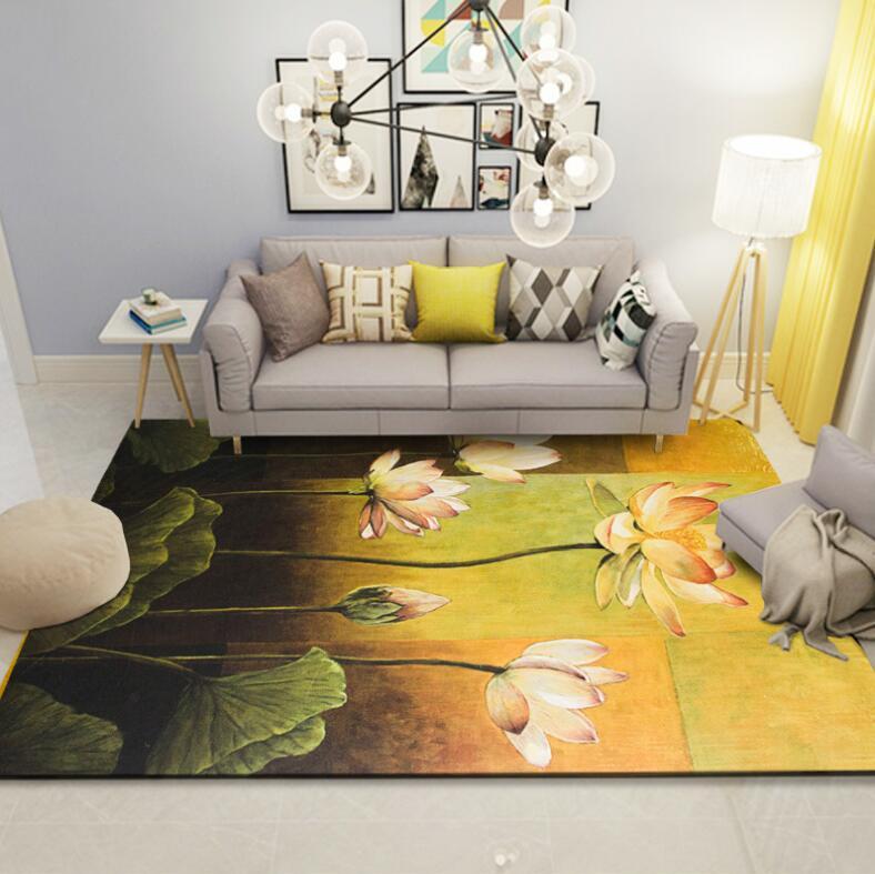 Américain aquarelle floral Jacquard salon tapis salon tapis couloir grand tapis salle de bain chambre antidérapant tapis de sol