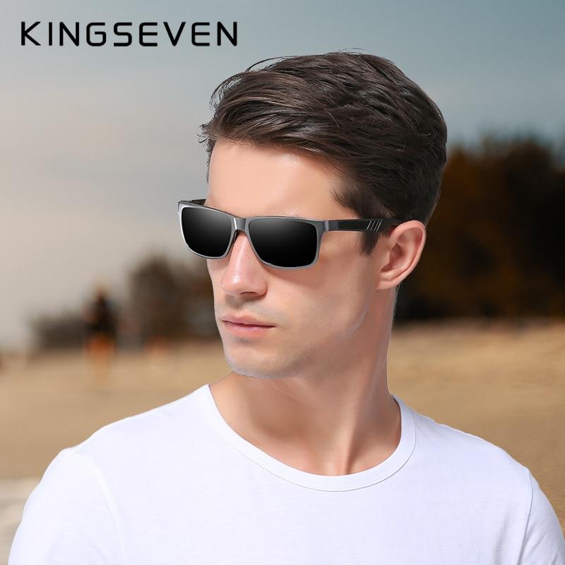 KINGSEVEN Men Polarized Sunglasses Aluminum Magnesium Sun Glasses Driving Glasses Rectangle Shades For Men Oculos masculino Male 2