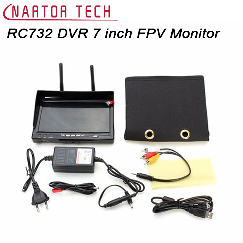 New RC732 DVR AIO 7 inch HD LCD FPV Monitor Built-in Battery and 32CH 5.8G Wireless Diversity RC Receiver 2pcs fpv 7 inch monitor displayer pvr 732 built in battery dual 32ch 5 8ghz diversity receivers hd screen free shipping