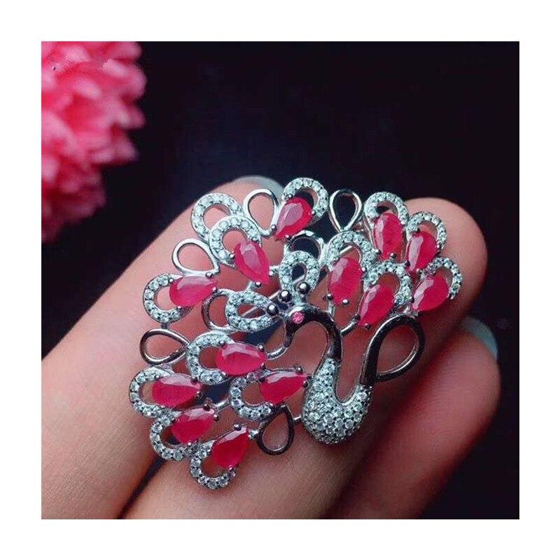 Broches de rubis de paon naturel pour la fête féminine saint valentin cadeaux goutte d'eau véritable pierre gemme fine bijoux 925 argent Sterling 329 - 6