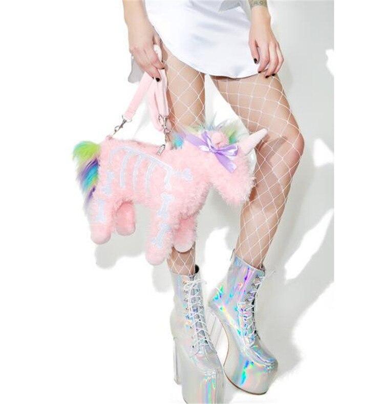 tendências unicórnio de pelúcia modelagem bolsa ombro senhoras mensageiro sacos