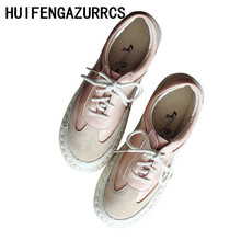 HUIFENGAZURRCS-Free shipping,2019 spring and autumn new art mori girl style leisure shoes,genuine leather flat retro women shoes