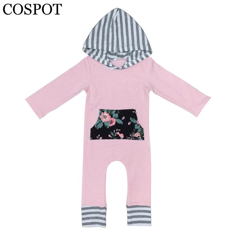 COSPOT Baby Girls Hooded Rompers Girls Striped Christmas Jumpsuit Girls Winter Autumn Romper Newborn Floral Jumper 2018 New 28F