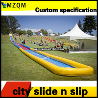 Free door shipping long inflatable water slip n slip for home use, kids inflatable water slide with or without round pool
