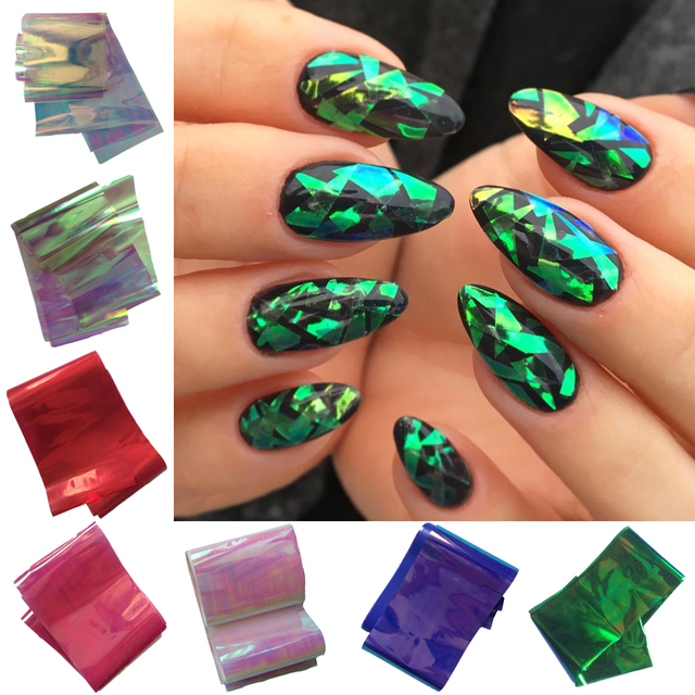 100cm5cm shattered glass nails diy nail foil transfer sticker rainbow effect background 18colors broken