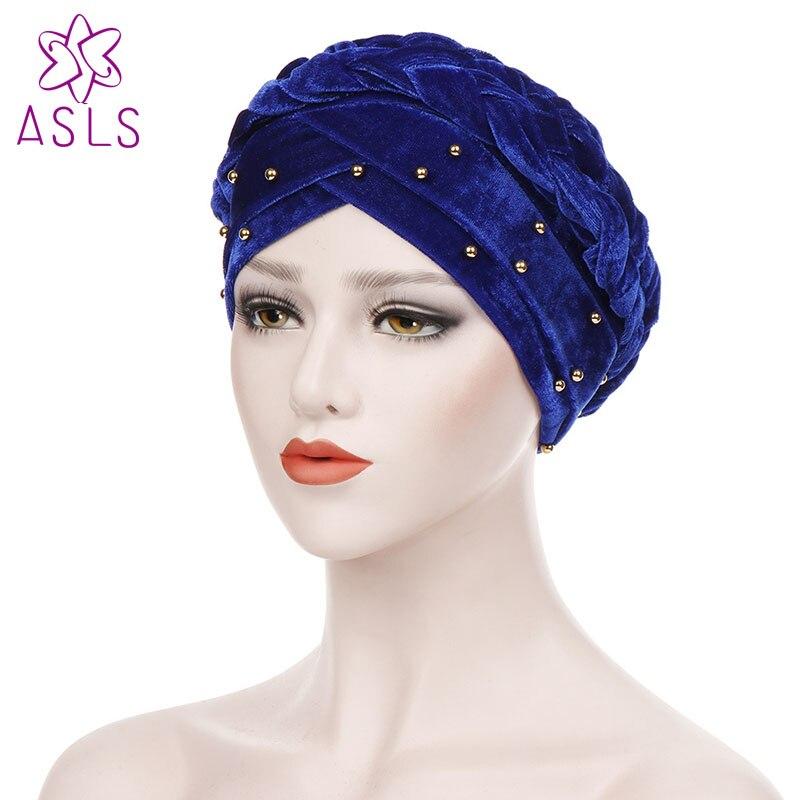 2de156fdba8 New Fashion Women turban pearl Hot StyleTurban Cap Chemotherapy Hat Bandana  Headscarf Ladies Hair Accessories(