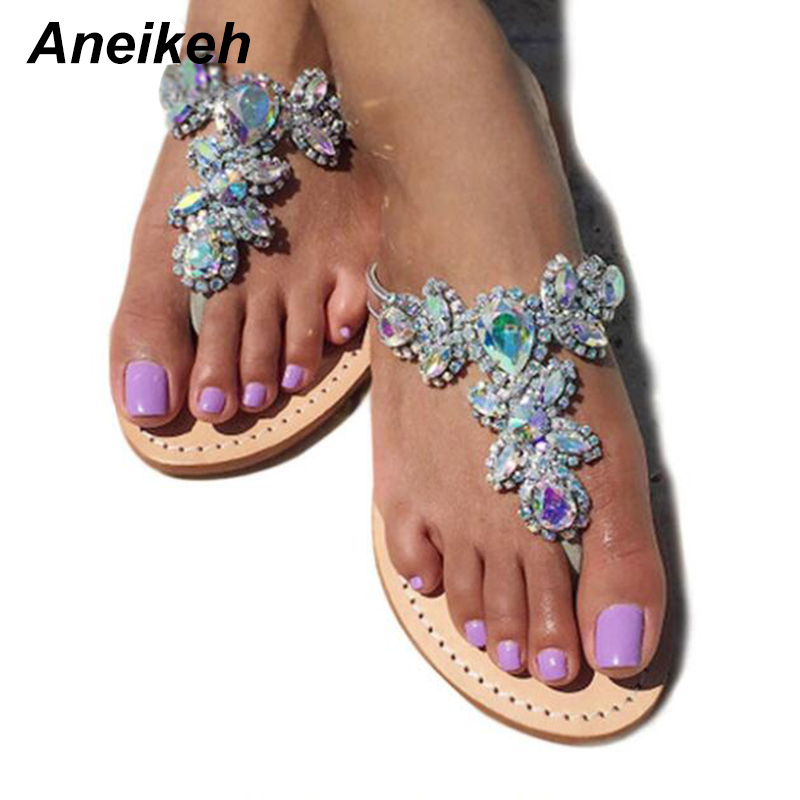 Aneikeh 2018 Woman Sandals Women Shoes Rhinestones Chains Thong Gladiator Flat Sandals Slippers Crystal Chaussure Plus Size