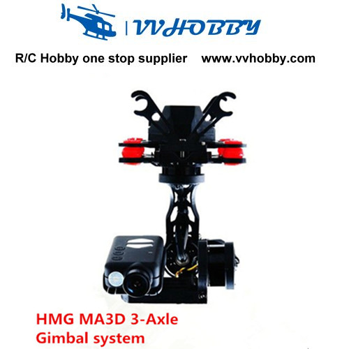 HMG MA3D 3-Axle Brushless Gimbal Kits for Mobius Action Camera 808 Multicopter FPV fpv 3 axis cnc metal brushless gimbal with controller for dji phantom camera drone for gopro 3 4 action sport camera only 180g