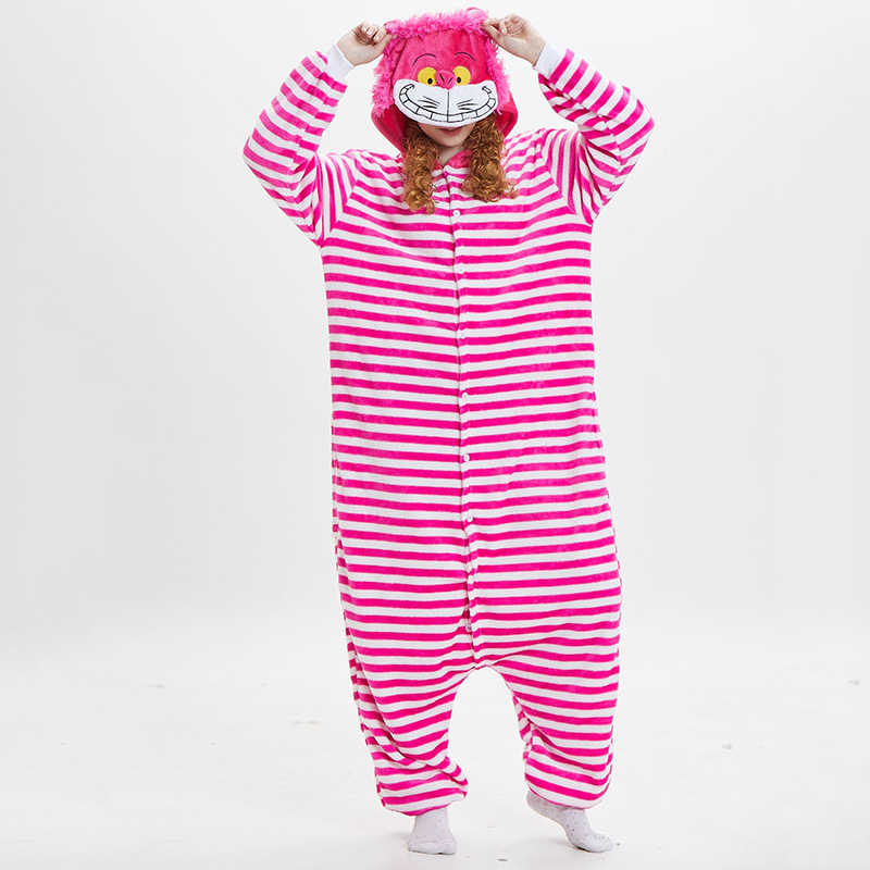 6453ff968 Detail Feedback Questions about Kigurumi Flannel Animal Cosplay Cheshire  Cat Onesie Pyjamas Halloween Costume Unisex Women Men Pajama One Piece  Cosplay ...