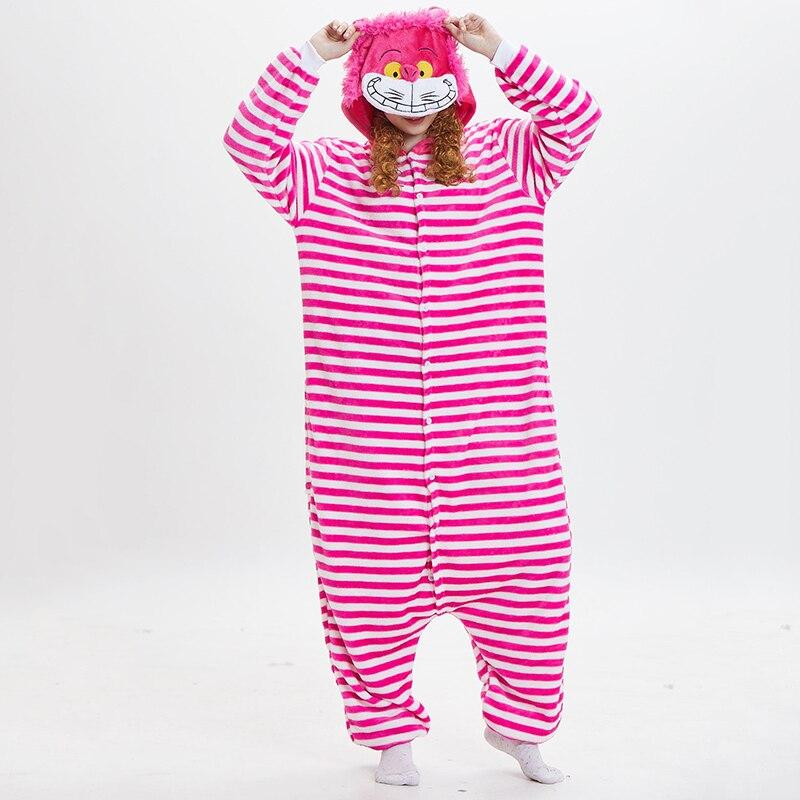Kigurumi Flanella Animale di Cosplay Cheshire Cat Tutina Pigiama Costume di Halloween Unisex Degli Uomini Delle Donne Pigiama di Un Pezzo Cosplay Costumi