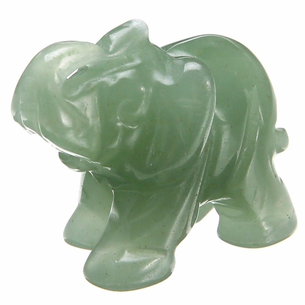 New Classic Green Pink Aventurine Jade Stone Craving Lucky Elephant Feng Shui Statue Figurine Home Office Ornaments