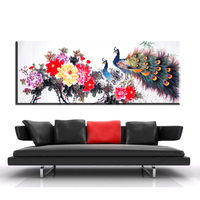 ZZ1056 Chinese Canvas Art Fortune Peony Flower Peacock Bird Canvas Pictures Oil Art Painting For Livingroom