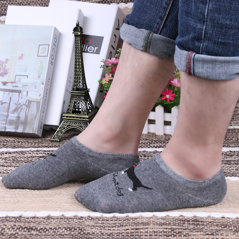 1 Pair of Casual Cute Dog Animal Pattern Socks Men Non-Slip Invisible Low Cut Cotton Blend Ankle Sock Slippers