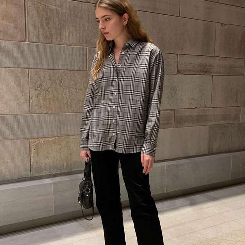 women shirt 2019 new Nordic style gray plaid embroidered cotton shirt