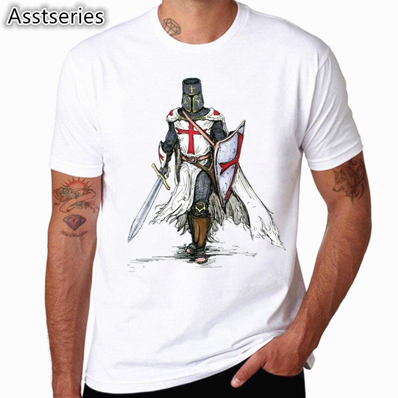 Caballero templario blanco impresión de la camiseta de los nuevos hombres del verano o-cuello manga corta Camiseta Hipster Swag Harajuku ropa
