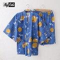 Nova verão 2017 100% algodão simples conjuntos quimono japonês pijamas shorts mulheres ocasional dos desenhos animados para as mulheres mangas curtas sleepwear