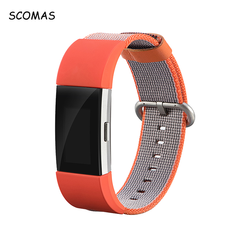 SCOMAS Woven Nylon Breathable Straps for Fitbit Charge 2 Smart Wrist Band Adjustable Replacement Bands for Fit Bit Charge2 Watch