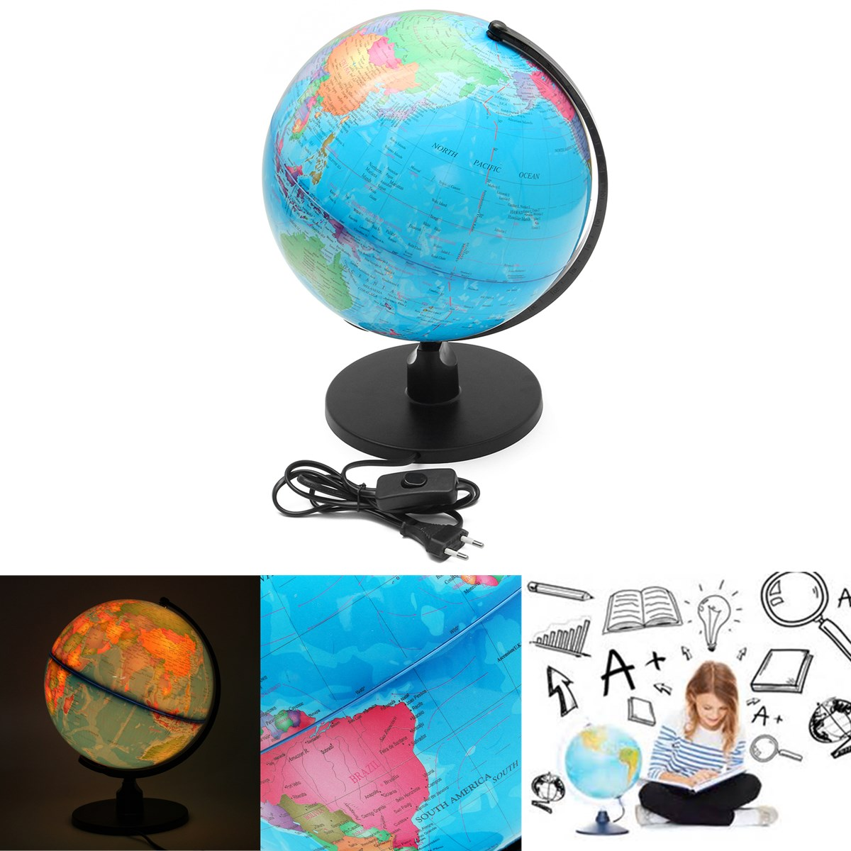 25CM LED Earth Globe World Map Geography Educational Toy For Desktop Decoration Home Office Aid Miniatures Kids Gift