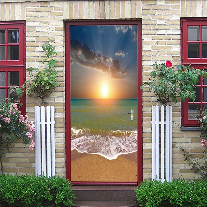 77x200cm 3D Sunrise Sea Door Sticker For Living Room Bedroom DIY PVC Self Adhesive Wallpaper Waterproof Mural Decal77x200cm 3D Sunrise Sea Door Sticker For Living Room Bedroom DIY PVC Self Adhesive Wallpaper Waterproof Mural Decal