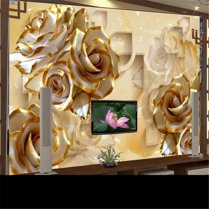 Adesivi Murali 3d Grandi.Us 8 85 41 Di Sconto Beibehang Foto Personalizzata Carta Da Parati Adesivi Murali Di Grandi Dimensioni Affreschi 3d Rilievi Rose Carving