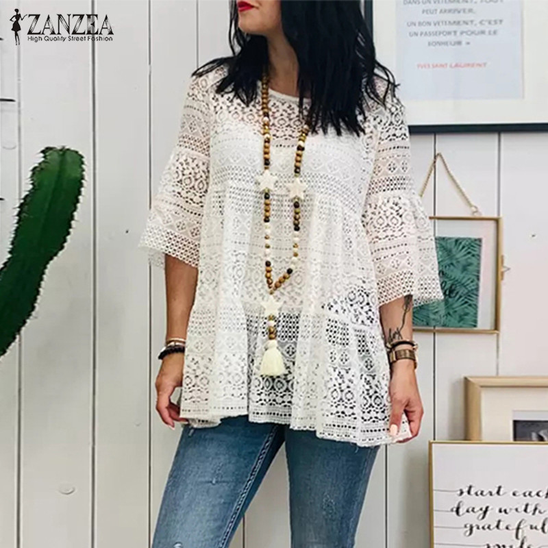 Summer Blouse ZANZEA Bohemian Lace Crochet Tops Women's 3/4 Flare Sleeve Hollow Out Shirts Female Solid Beach Blusas Robe Femme