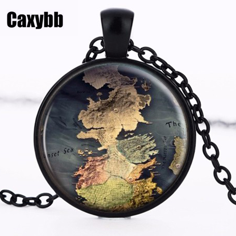 The Game Of Thrones Poniente Map Jewelry Map Pendant Movie Game Vintage Jewelry Necklace of Thrones Song of Ice and Fire image
